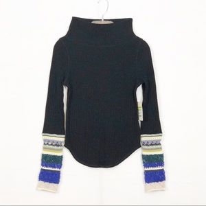 Free People Mixed Up Cuff Sweater Size S NWT